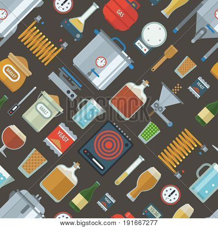 Home brewing factory production items seamless pattern. All you need for brew home made craft beer. Elements for home brewery. Mashing, cooling, fermentation, bottling. Creative vector background.