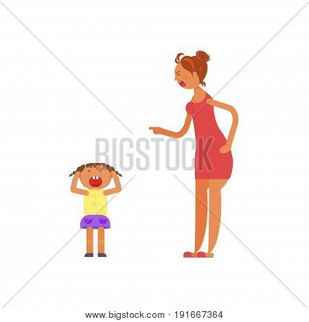Mother shouting at child. Violence in family Vector illustration eps 10.