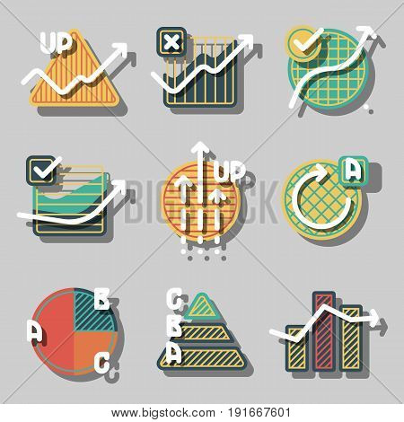 Set of colorful infographics elements and diagrams, circle charts, arrows. Flat icons with shadows for business. Vector paper style illustration badges.