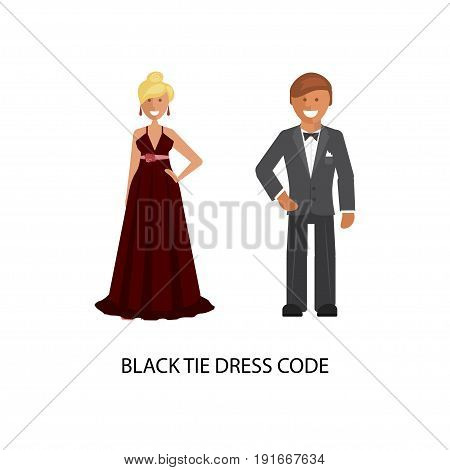 Black tie dress code. Man and woman in smart casual style suits isolated on white background. Vector illustration of people in formal clothes.
