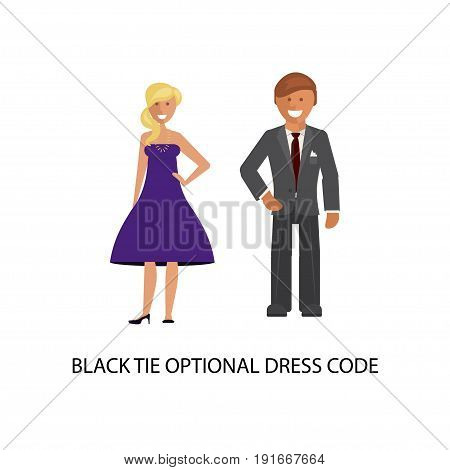 Black tie optional dress code. Man and woman in smart casual style suits isolated on white background. Vector illustration of people in formal clothes.