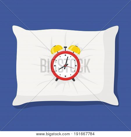 Sleep red alarm clock on white pillow isolated on blue background. Vector illustration.