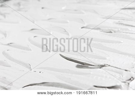 White Background Cream Sweet Culinary Texture Structure Relief Smooth Abstract Closeup Free Space Concept