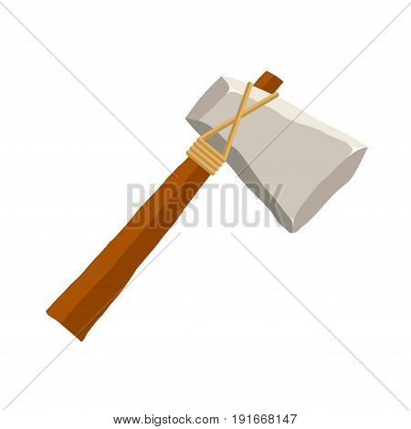 Stone axe isolated on white background. Ancient tool and weapon in flat style. Vector illustration.