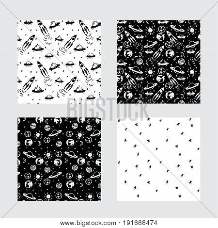 Vector space seamless cartoon pattern set. Black and white doodle pattern with planets ufo rocket and stars for paper textile handmade decoration scrap-booking polygraphy t-shirt cards.