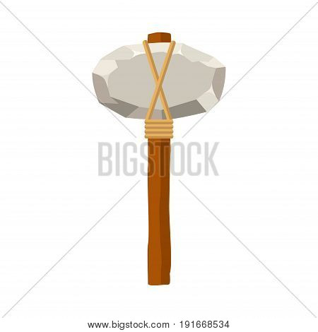 Stone hammer or axe isolated on white background. Ancient tool and weapon in flat style. Vector illustration.