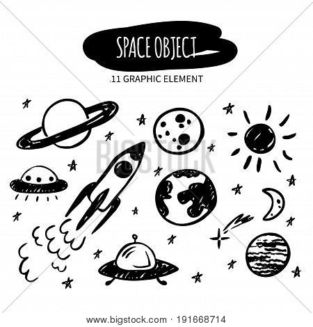 Vector doodle space object. Hand drawn planets stars spaceship ufo. Made with ink. Cartoon graphic element for design and decor.