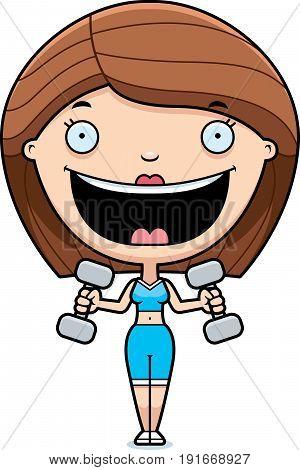 Cartoon Woman Lifting Weights