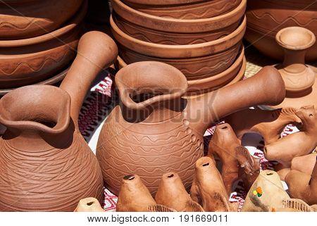 Monochrome ceramic handmade turk in natural sunlight