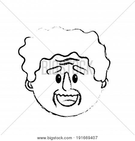 figure old man face with hairstyle vector illustration