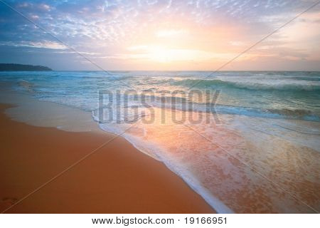 Dreamy tropical sunset. Surin beach. Phuket island. Kingdom Thailand
