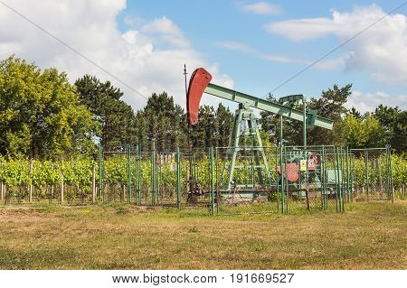 Extraction of good quality oil. Oil well pumpjack on vineyard in Czech Republic. Southern Moravia Region