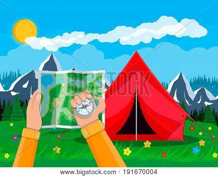 Folded paper city suburban map and compass in hands. Abstract generic map. GPS and navigation. Nature landscape with mountains, tent and forest. Vector illustration in flat style