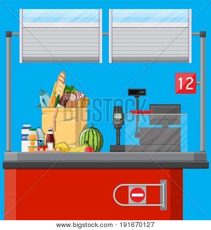 Supermarket interior. Cashier counter workplace. Food and drinks. Cash register, pos terminal and keypad. Vector illustration in flat style