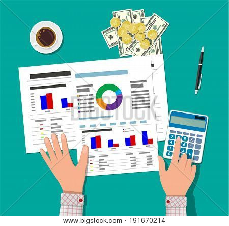 Financial calculations, working process. Businessman hands, calculator, financial reports, money, coins, pen and coffee cup. Vector illustration in flat style