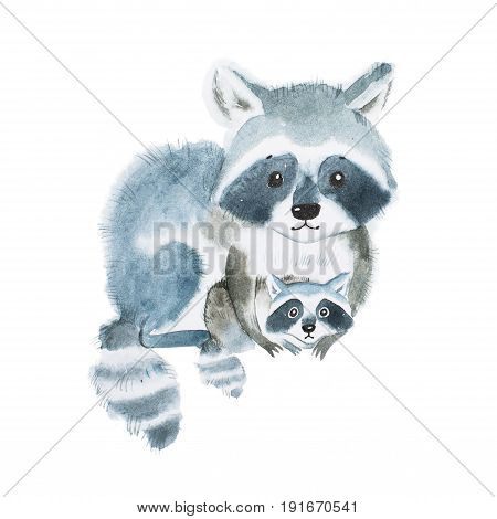 Cute fuzzy raccoon family, mother warming her little baby. Artwork created with watercolor technique