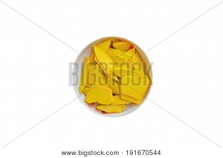 Pumpkin in a plate on a white background fresh, healthy for family activities.