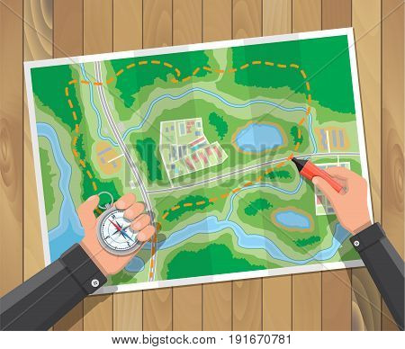 Wooden table with paper map and compass. Marker in hands. Planning trip. Vector illustration in flat style