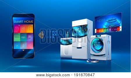Smart kitchen. the smart phone manages kitchen appliances: dishwasher refrigerator. washing machine. robot vacuum cleaner smart TV. VECTOR. isometric illustration