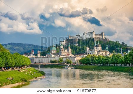 Historic City Of Salzburg With Salzach River At Sunset, Salzburger Land, Austria