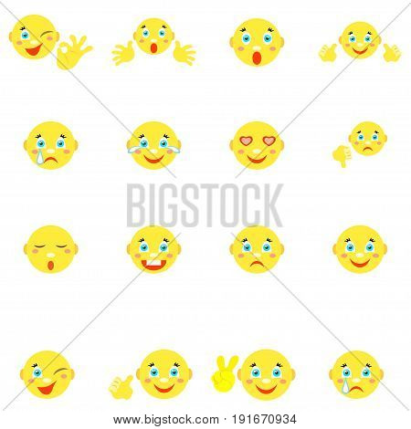 Smilies with different emotions and gestures. Set of 16 icons on a white background. Vector image in a cartoon style.