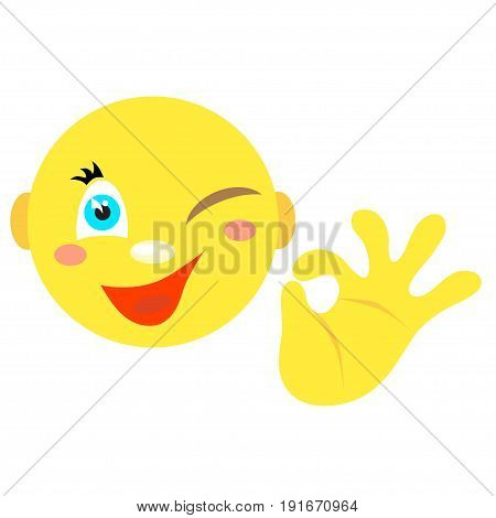 Smiley with a gesture ok. Icons on a white background. Vector image in a cartoon style