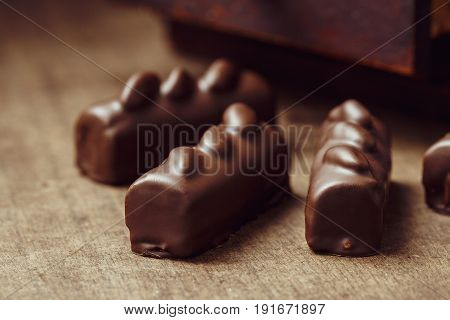 Luxury Handmade Candies On Wooden Background