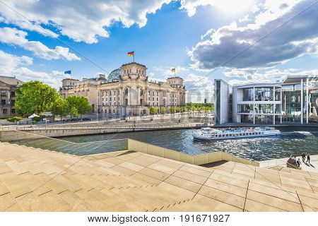 Berlin Government District With Reichstag And Spree River, Germany