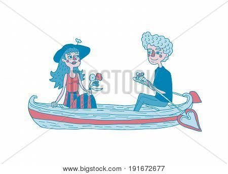 Young couple sailing on a boat. Dating.  Hand drawing illustration. Isolated vector.  Can be used for your design project