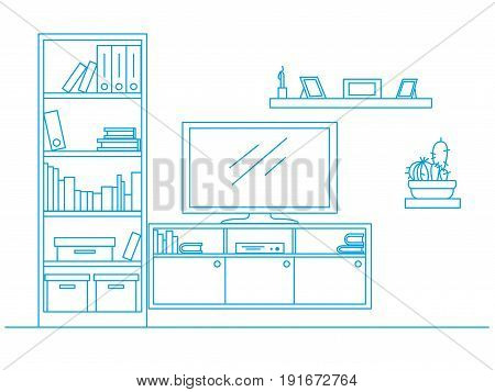 Linear sketch of the interior drawn by a blue pen. Bookcase dresser with TV and shelves. Vector illustration