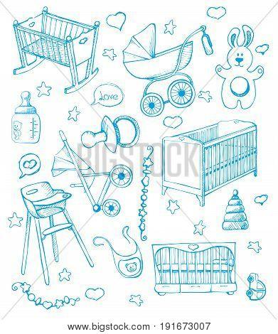 Set children's furniture. Vector illustration. Sketch different for child cots and prams.
