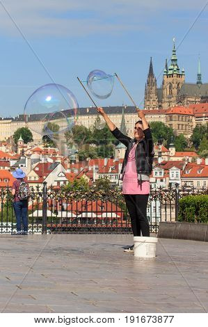 PRAGUE, CZECH REPUBLIC - MAY 17, 2017: Prague, Czech Republic. The popular tourist itinerary in Praha, Walk through the famous historical places of the city.