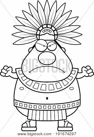 Angry Cartoon Aztec King