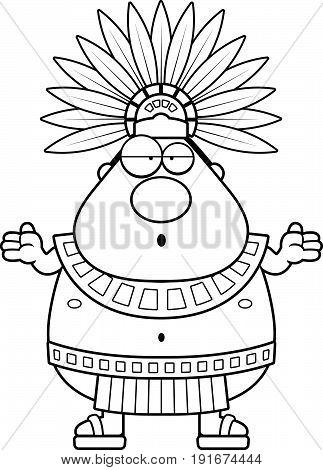 Confused Cartoon Aztec King