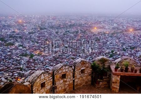 Fortifications at the Nahargarh fort with a beautiful view of Jaipur from the mountaintop. This is a popular tourist destination