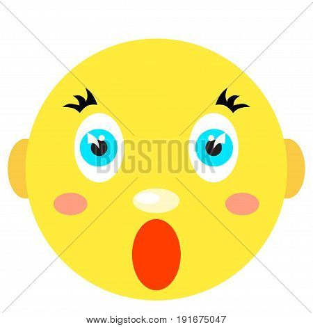 Smiley screams, scared. Icons on a white background. Vector image in a cartoon style