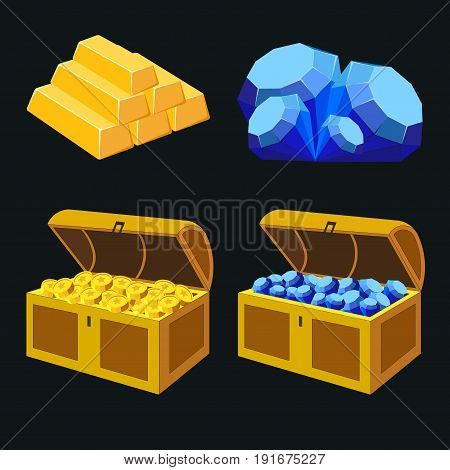 Image elements of treasure blue diamonds gold bars gold coins chests full of treasures game design image
