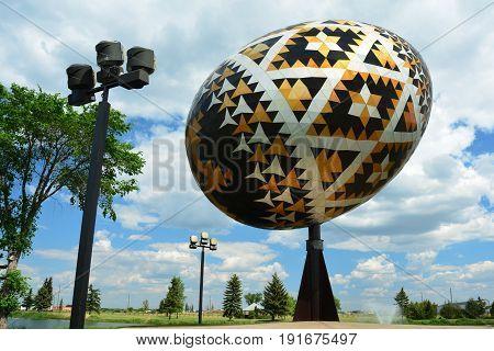 Vegreville Alberta,Canada,June 15th 2015.The worlds largest Pysanka egg can be found in Vegreville Alberta.