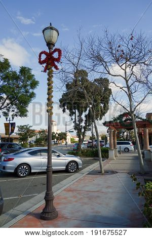 CAMARILLO CA USA - DECEMBER 19 2013: Christmas decoration at Arneill Rd and Old Town Elm Street of distinctive Southern California city of Camarillo Ventura County