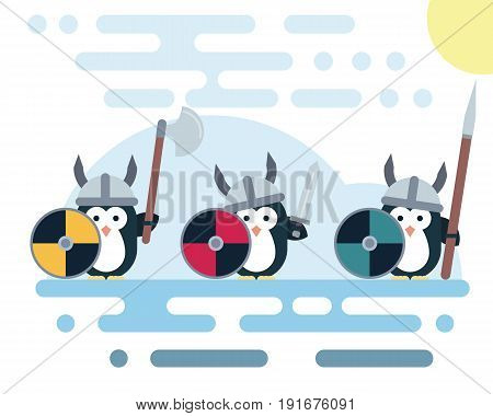 Set of vector penguins characters stylized as a viking warrior with various weapons. Modern flat illustration.