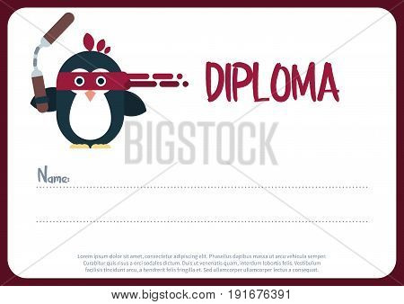Vector diploma template with penguin character stylized as a ninja. Modern flat illustration.