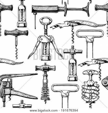 Seamless pattern with different corkscrews. Vector illustration in vintage engraved style.