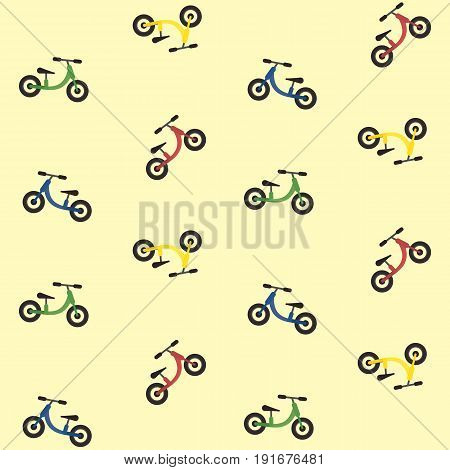 Colorful kids balance bike seamless pattern cute texture with red yellow green and blue toddler run bikes
