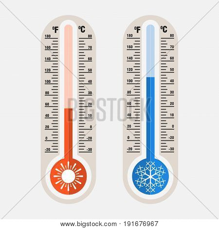 Image of meteorological thermometers measurement of heat and cold by Celsius Fahrenheit flat style image