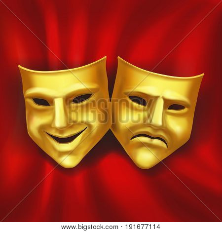 Theatrical gold mask on a red background. Vector realistic illustration.