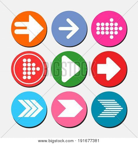 Set of arrow icons image of Internet buttons flat style image
