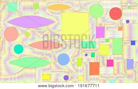 Vector geometric, graphic, bright, saturated, abstract colorful background, composition of lines, squares, circles