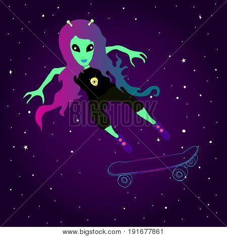 Fantastic alien girl skates on a skateboard against the background of space. Bright alien with pink blue hair on a skateboard. Vector illustration of cute aliens on a skateboard in the sky.