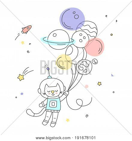 Nursery art: cute little hand-drawn cat fly to the space on the air balloons.