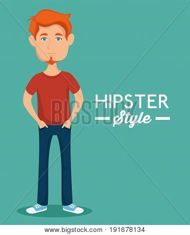 Ginger man with hipster style sign over teal background vector illustration